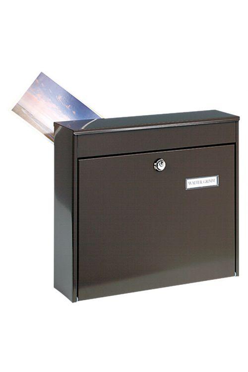 Poštni nabiralnik Burg Wächter Potsdam 878 (jeklena pločevina, 100 x 362 x 322 mm, rjav, mere reže za pošto: DIN C4, 333 x 34 mm)