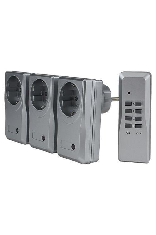 Set brezžičnih stikal Voltomat 3+1 (srebrn, domet: 25 m, maks. zmogljivost: 1000 W)