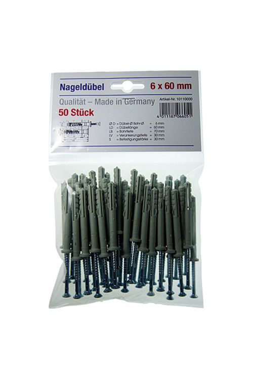 komplet udarnih zidnih vložkov (premer vložka: 6mm, dolžina vložka: 60 mm, 50kos, najlon)