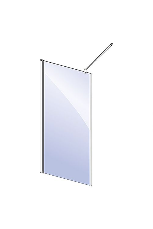 Tuš stena za dvojna nihajna vrata Camargue Vario S36 (80 x 195 cm, srebrni profili, steklo: 6 mm, premaz Wonderclean)
