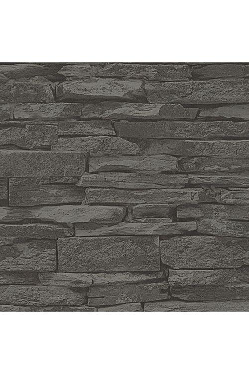 Tapeta iz netkane tekstilije my look Nature (črna, videz kamenja, 10,05 x 0,53 m)