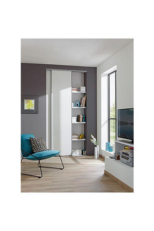 Komplet za drsna vrata Optimum (brez ogledala, bela/siva, 120 x 250 cm)