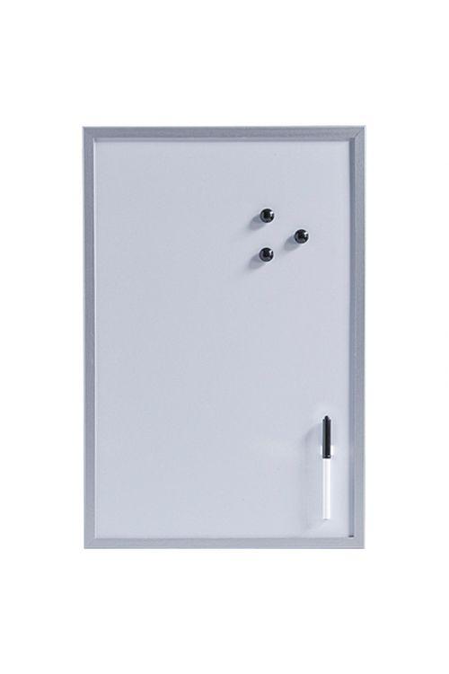 Magnetna tabla (60 cm x 40 cm x 14 mm, kovina, srebrna, vklj. s pisalom, držalom za pisalo, tremi magneti, ušesi za obešanje)