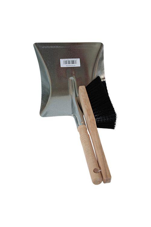 Komplet z metlo in smetišnico (srebrna, pocinkan)