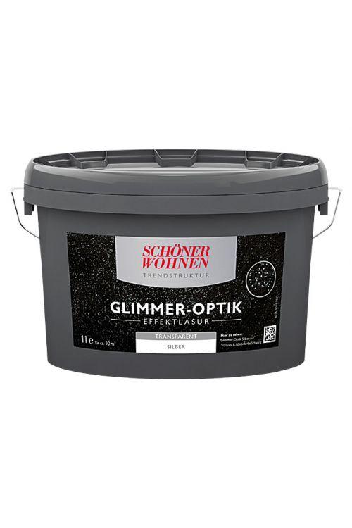 Lazura z učinkom Schöner Wohnen Glimmer-Optik Effektlasur Trendstruktur (srebrna, prosojna, 1 l)