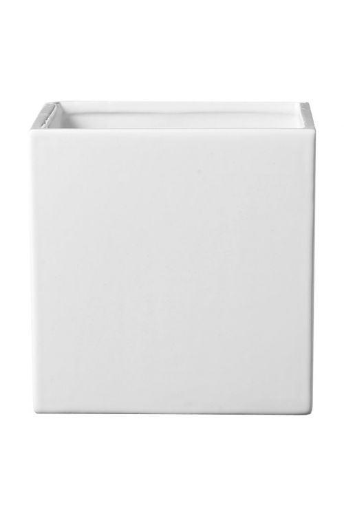 Okrasni lonec SK Latina (13 × 13 × 13 cm, bel, svetleč)