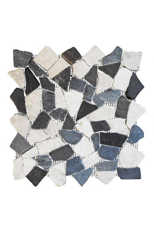 Lomljeni mozaik Marmor (30 x 30 cm, bel/črn/siv, mat)
