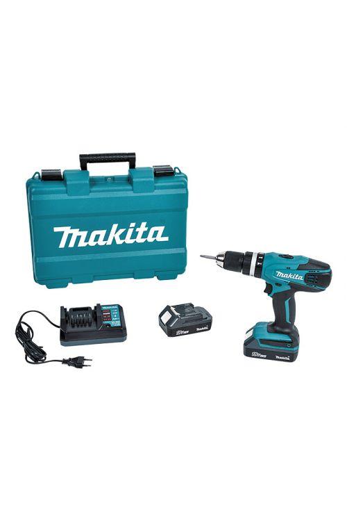 Akumulatorski vibracijski vrtalnik Makita HP457DWE (18 V, 2 bateriji, 1,5 Ah, število vrtljajev v prostem teku: 0–1.400 vrt./min)