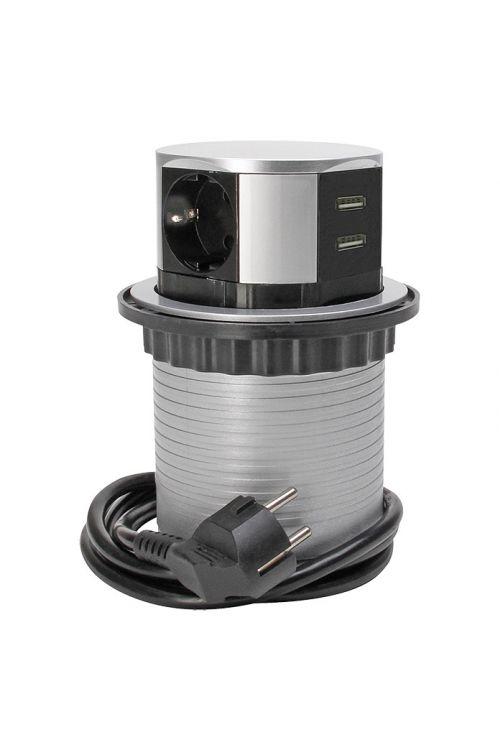 Steber z vtičnicami (potopen, priključek USB, siv/antraciten)