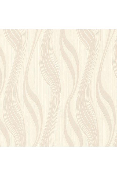 Tapeta iz netkane tekstilije Avenzio 4 (bež/kremasta, valovite črte, 10,05 x 0,53 m)