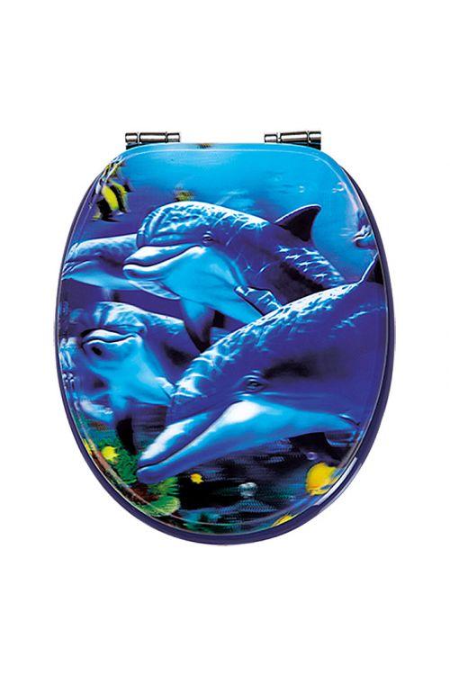 WC deska POSEIDON Sea Life 3D (MDF, počasno spuščanje, snemljiva, modra)