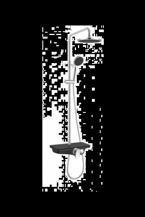 Pršni set z nadglavno prho Sanotechnik (krom/črn, sijaj)